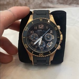 Marc Jacobs Black Neoprene and Gold Watch